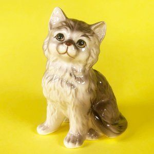 Vintage Brown Striped Cat Ceramic Figurine Kitsch